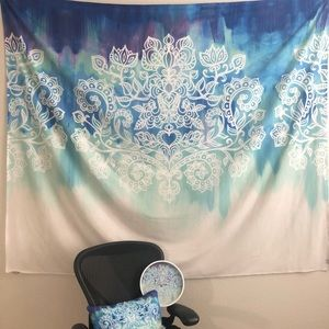 Matching set: wall tapestry, pillow and clock